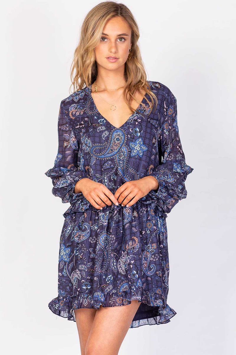 Boulevard Cruise Mini Dress - Blue Paisley - The Bohemian Corner