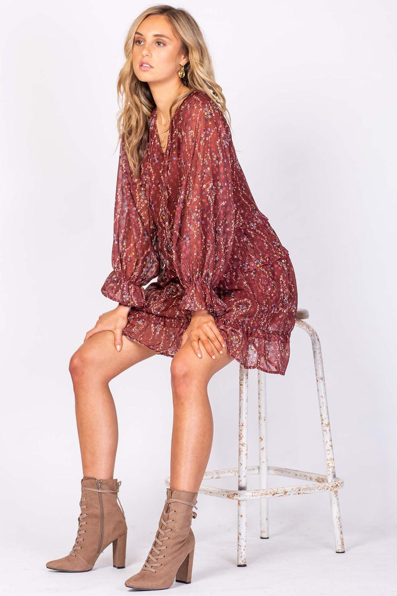 Melrose Avenue Mini Dress - Burgundy Floral - The Bohemian Corner