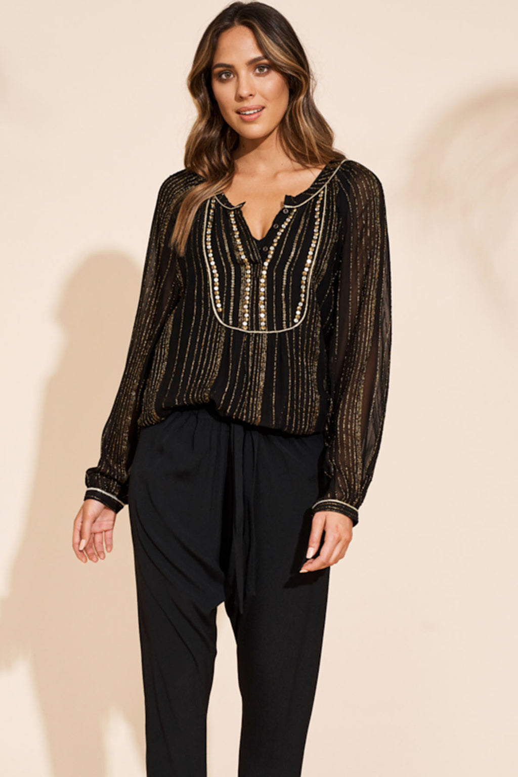 Etosha Blouse - Black Gold - The Bohemian Corner
