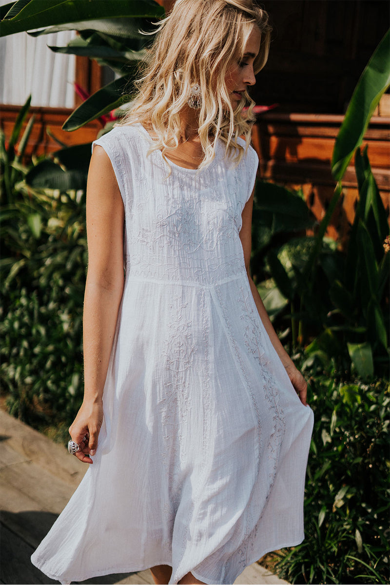Daydream Midi Dress - White - The Bohemian Corner