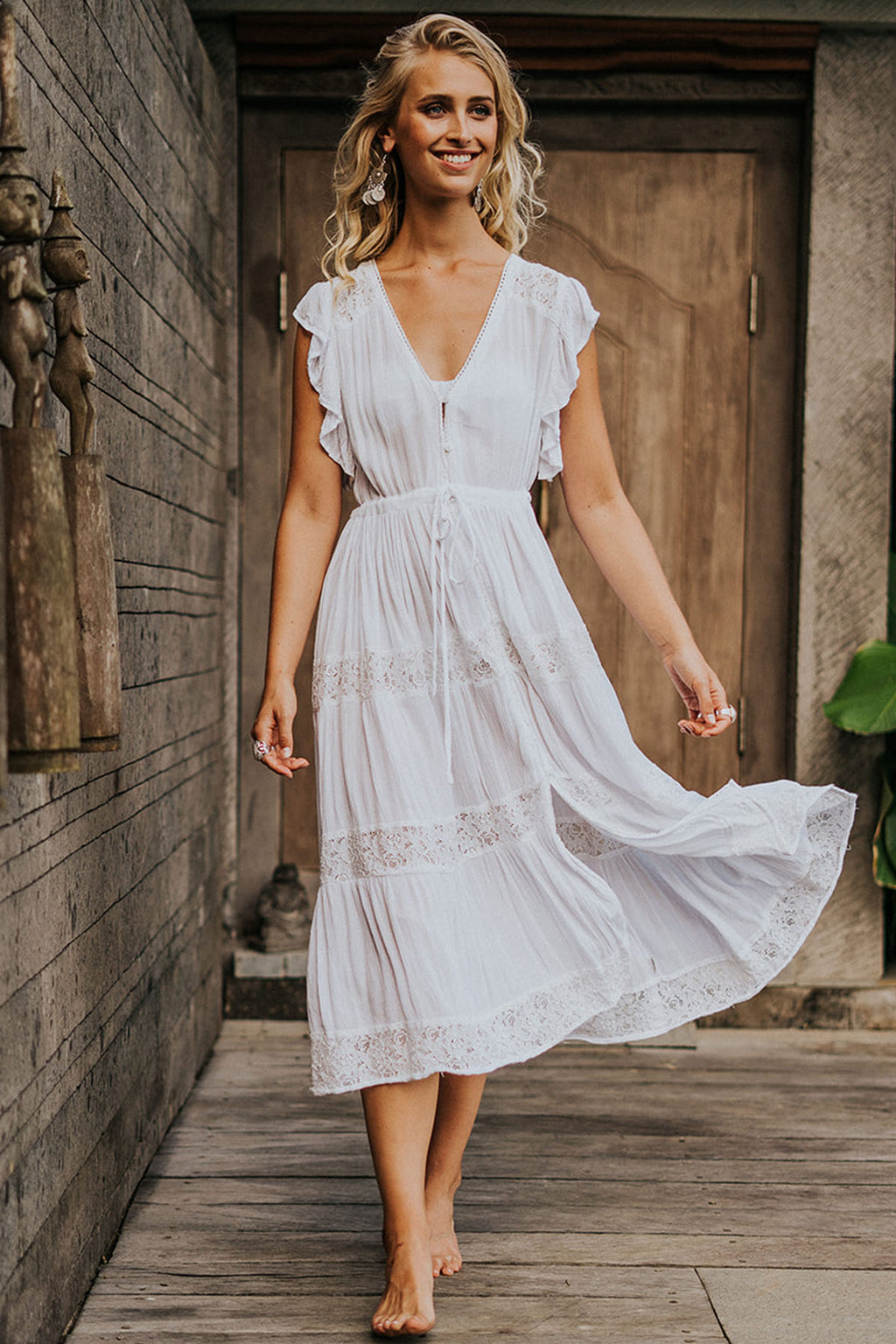Summer Breeze Maxi Dress - White - The Bohemian Corner