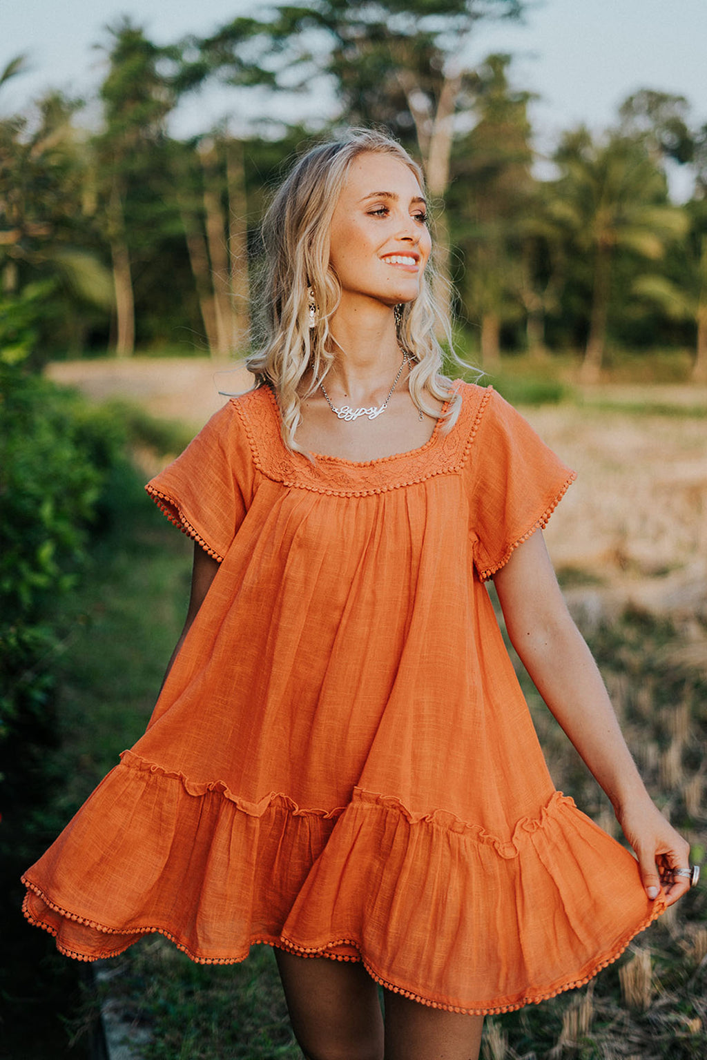 Sunkissed Mini Dress - Sunset - The Bohemian Corner