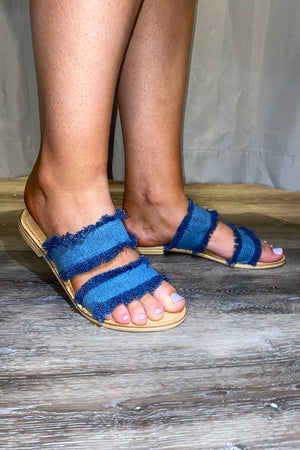 Denim Double Fringe Slides - Blue - The Bohemian Corner