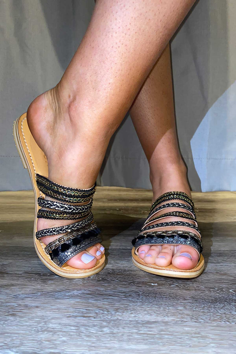 Bollywood Slides - Black - The Bohemian Corner