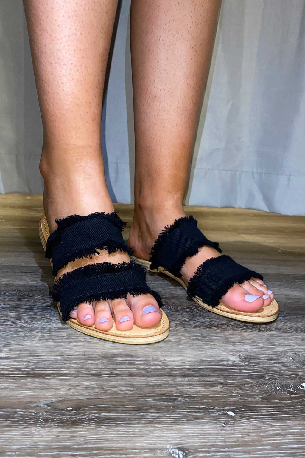 Denim Double Fringe Slides - Black - The Bohemian Corner