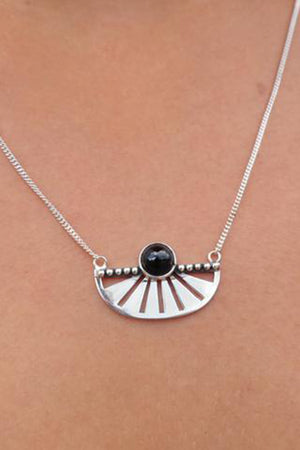 Adrift Silver Necklace - Onyx - The Bohemian Corner