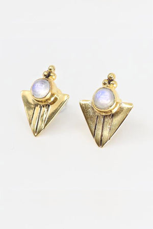 Aquila Gold Earrings - Moonstone - The Bohemian Corner