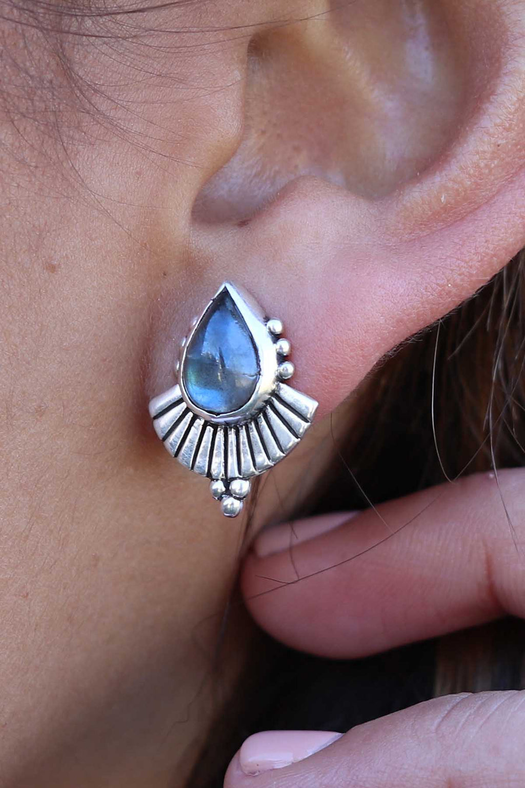 Cleopatra Silver Earrings - Labradorite - The Bohemian Corner