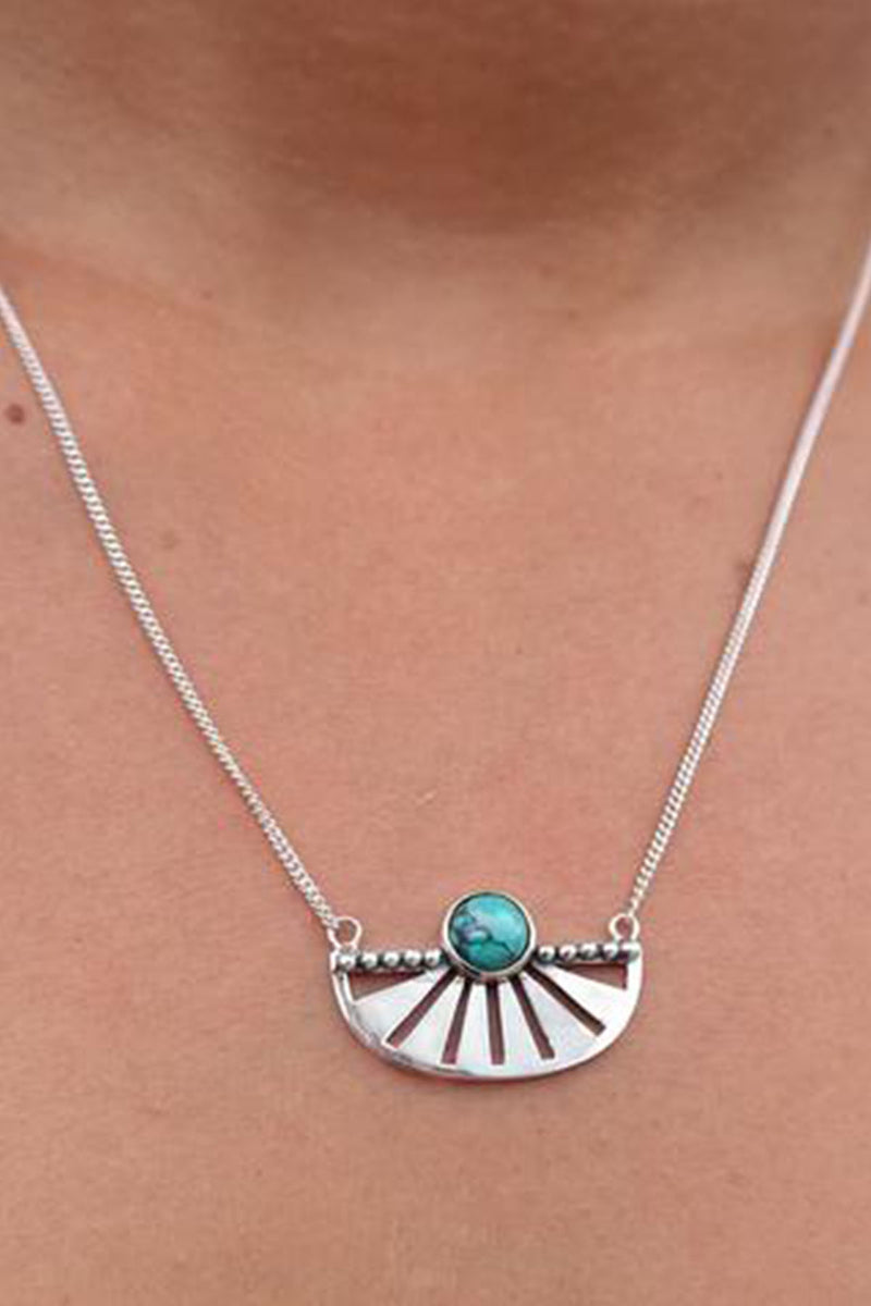 Adrift Silver Necklace - Turquoise - The Bohemian Corner