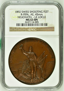 Rare Switzerland 1892 Bronze Shooting Medal Neuchatel Le Locle R-959c NGC MS63
