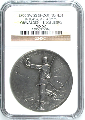 Rare Switzerland 1899 Silver Shooting Medal Obwalden Engelberg R-1045a NGC MS62