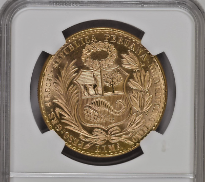 Peru 1965 Gold 100 Soles Seated Liberty Lima NGC MS66 Low mintage