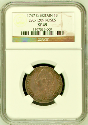 Great Britain 1747 Shilling Silver Coin George II ESC-1209 Roses NGC XF45