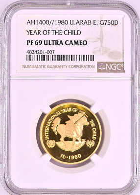 1400/1980 UAE 750 Dirhams Gold Proof Coin Year of the Child NGC PF69
