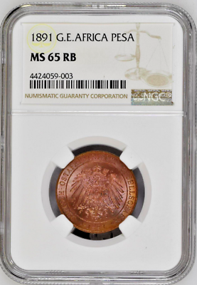 1891 German East Africa Pesa Wilhelm II NGC MS65