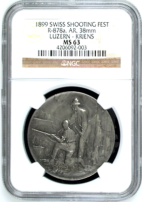 Swiss 1899 Silver Shooting Medal Luzern Kriens R-878a M-475 Switzerland NGC MS63