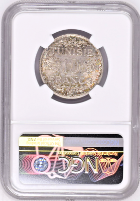 1934 Tunisia French Protectorate 10 Francs Silver NGC MS62 Top Pop
