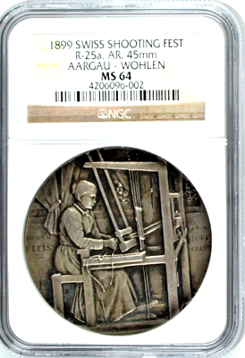 Swiss 1899 Silver Medal Shooting Fest Aargau Wohlen R-25a NGC MS 64 Low Mintage