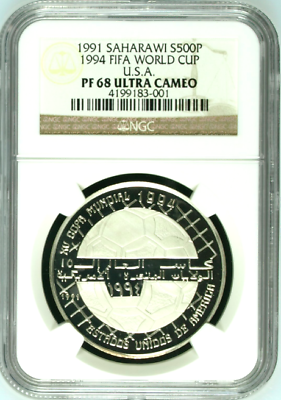 Saharawi 1991 Silver 500 Pasetas Soccer 1994 FIFA World Cup USA NGC PF68 Top Pop