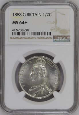 Great Britain 1888 Half Crown Silver Coin Victoria NGC MS64