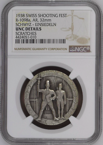 Very Rare Swiss 1938 Silver Shooting Medal Schwyz R-1098a Mintage-120 NGC