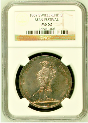 Switzerland Bern 1857 Shooting Thaler Medal 5 Francs R-181a NGC MS62 Swiss