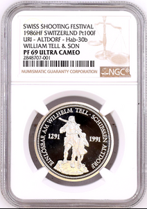 Swiss 1986 Platinum Shooting Thaler Medal Uri Altdorf William Tell NGC PF69