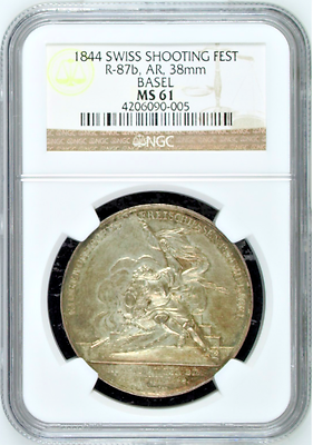 Swiss 1844 Silver Shooting Medal Basel Saint Jacob an der Birs R-87b NGC MS61