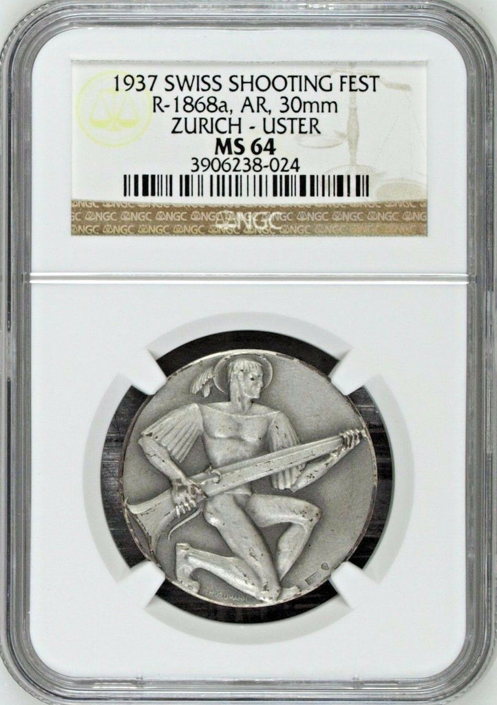 Swiss 1937 Silver Medal Shooting Fest Zurich Uster R-1868a NGC MS64 - Rare