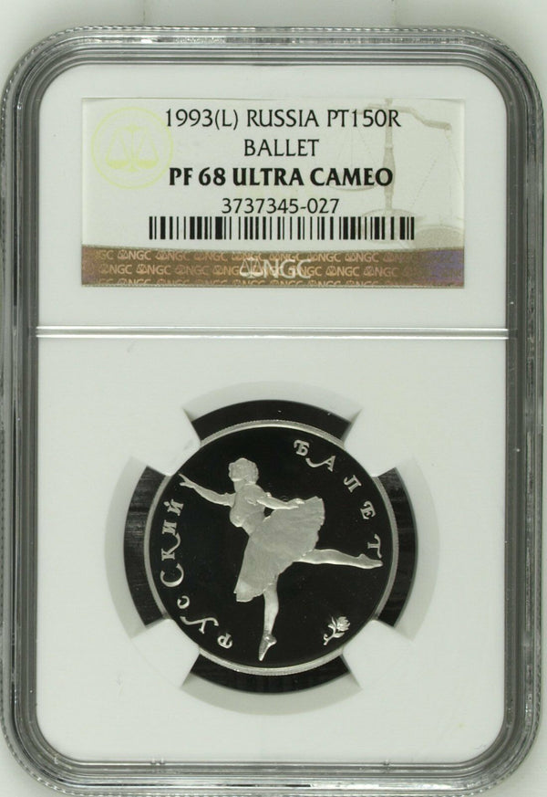 Rare Russia 1993 Set 3 Platinum Coins Ballet Ballerina NGC PF68-69 Mintage 750