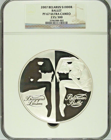Rare 2007 Belarus kilo Silver 1000 Roubles Ballerina Ballet NGC PF67 Mintage-300