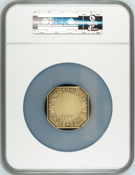 Swiss 1936 Shooting Medal Appenzell Stoss NGC MS65 Bronze Mintage<100 R-79b