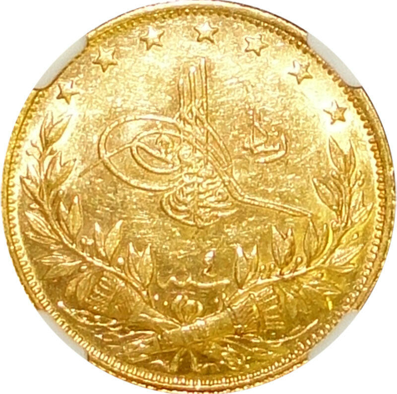 AH1327//4 Turkey 100 Kurush Gold Coin Toughra Mehmed V Reshad NGC MS62