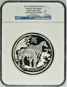 2014 P Australia 1 kilo Proof Silver $30 Year of the Horse NGC PF69 Mintage-500