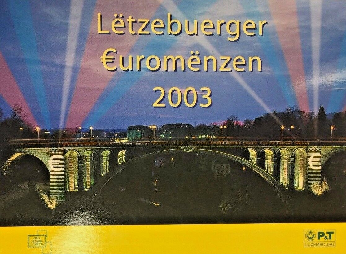 2003 Luxembourg 8 Coins Official Euro Set Special Edition + 4 Stamps