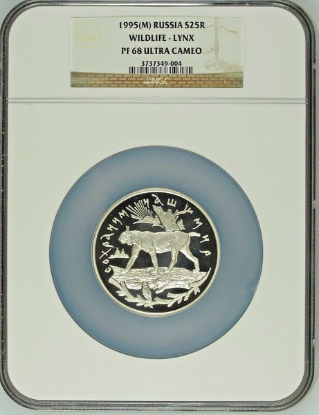 1995 Russia Silver 5 Oz Coin 25 Rubles Wildlife Lynx on log NGC PF 68 Rare