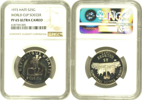 Haiti 1973 Silver Proof 25 Gourdes World Cup Soccer Football Low Mint. NGC PF65