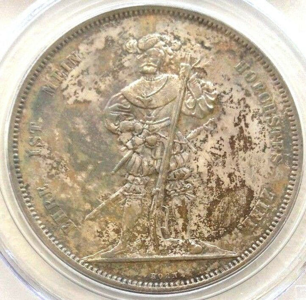 Swiss 1857 Silver Shooting Thaler 5 Francs Bern R-181a M-107 PCGS MS63 Low Mint.
