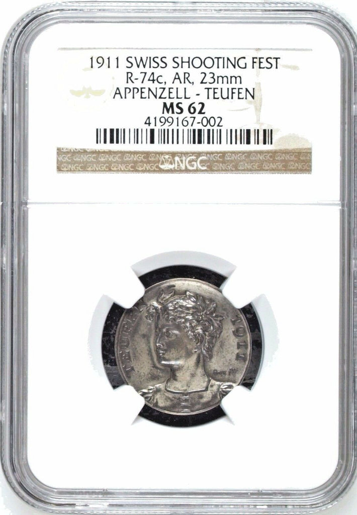 Swiss 1911 Silver Shooting Medal Appenzell Teugen R-74c NGC MS62 Mintage-577