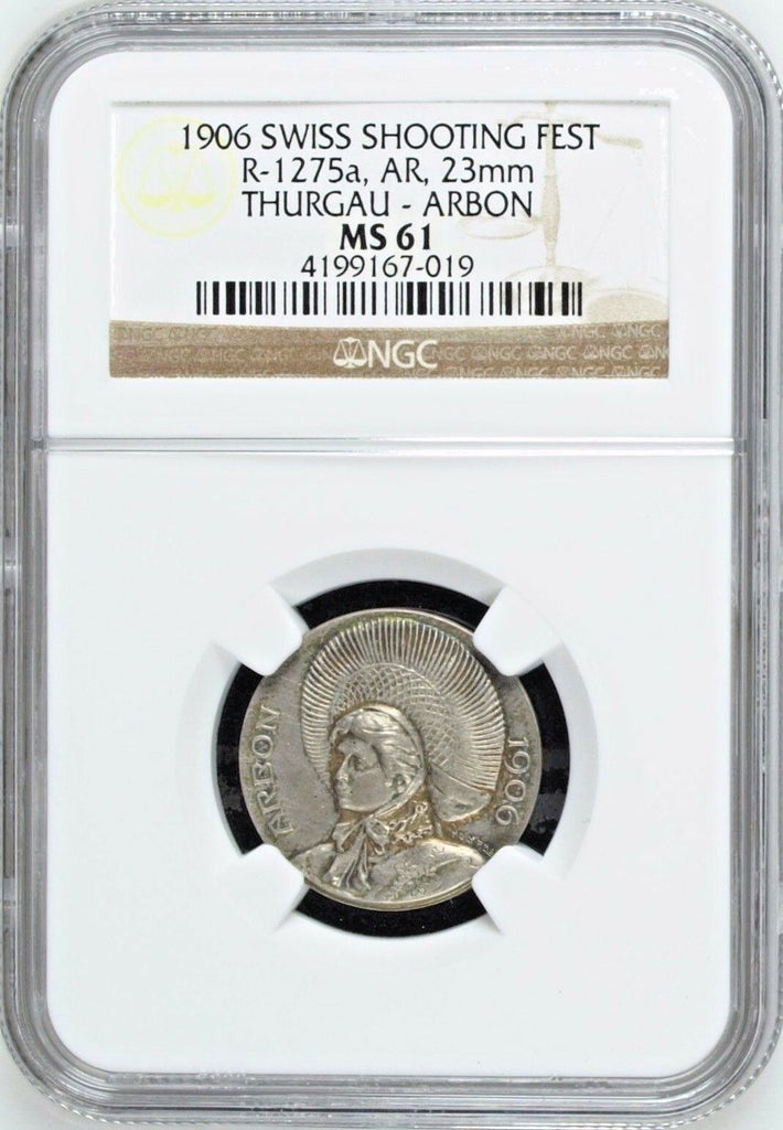 Swiss 1906 Silver Shooting Medal Thurgau Arbon Woman R-1275a NGC MS61 Mintage729