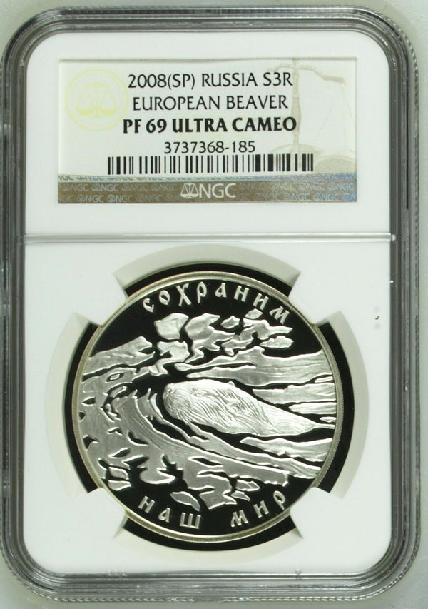Russia 2008 Silver Coin 3 Rouble Wildlife European Beaver NGC PF69