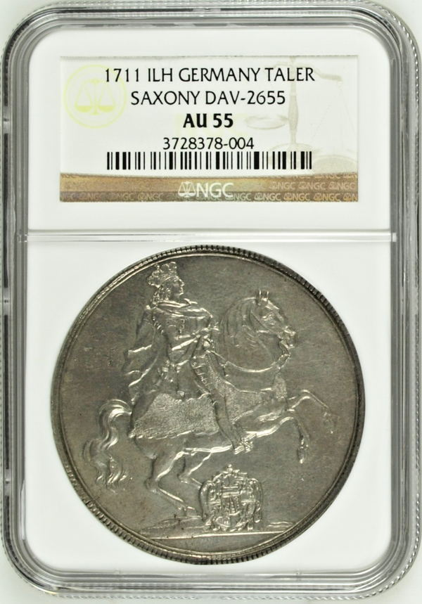 Germany 1711 Silver Saxony Albertine Taler Friedrich August I Dav-2605 NGC AU55