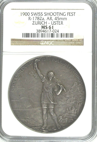 Swiss 1900 Silver Medal Shooting Fest Zurich Uster R-1782a NGC MS61 Low Mintage