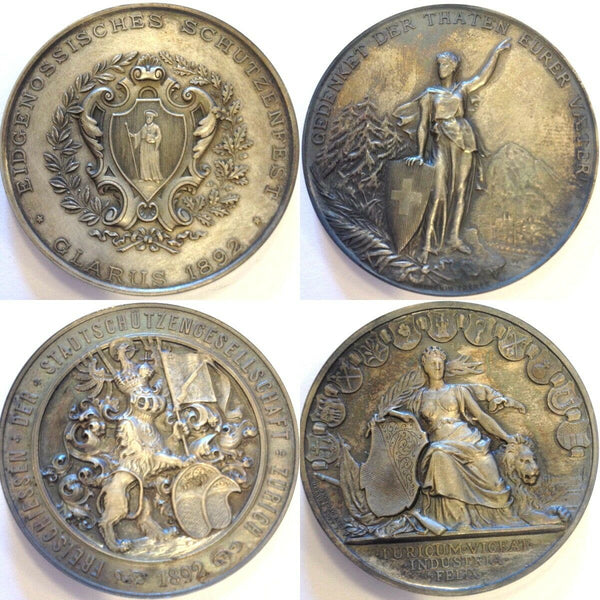 Swiss Unique Rare Shooting Medals Set 1887-1895 Switzerland Zurich Geneva