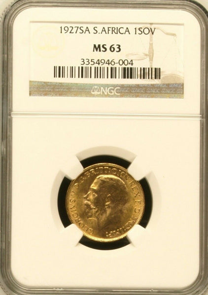South Africa 1927 SA Gold Coin Full Sovereign King George V NGC MS63