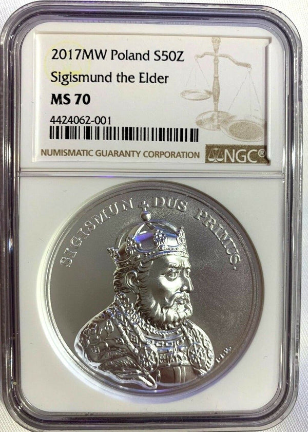 2017 Poland Silver 50 Zloty King Stanislaw August Sigismund the Elder NGC MS70