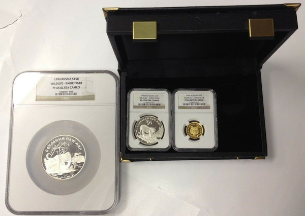 Russia 1996 Set 3 Gold Silver Coins Wildlife Amur Tiger NGC Box COA Rare