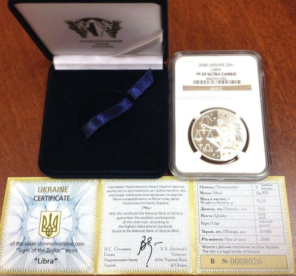 Ukraine 2008 Silver 5 Hryven Signs of the Zodiac Libra NGC PF69 Box COA