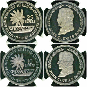 1977 Keeling Cocos Islands Silver Set 2 Coins 25 10 Rupees 150th Anniversary NGC