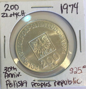 1974 Poland Silver 200 Zloty Warsaw 30th Anniversary PRP Polish Peoples Republic